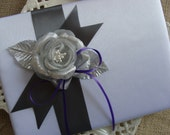 Wedding Guest Book - Silver Grey Rose with Purple Satin Bow On White Satin