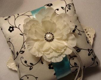 Wedding Ring Bearer Pillow - Ivory Peony on Ivory Tafetta with Black Velvet