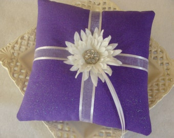 Weekly SALE Item-  Wedding Ring Bearer Pillow - White Daisy on Shimmering Amethyst