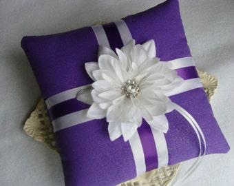 Wedding Ring Bearer Pillow - White Dahlia on Shimmering Amethyst