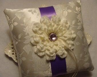 Wedding Ring Bearer Pillow - Ivory Dahlia on Ivory Satin Brocade & Lavender