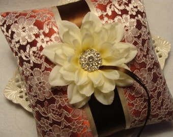 Wedding Ring Bearer Pillow - Ivory Dahlia on Ivory Lace & Burnt Orange Satin