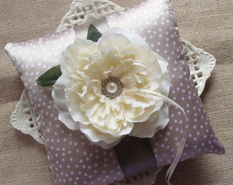 Wedding Ring Bearer Pillow - Off White Peony on Champagne & White