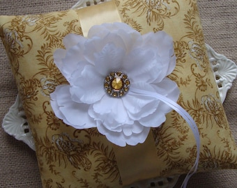 Wedding Ring Bearer Pillow - White Peony on Buttercream with Love Bird