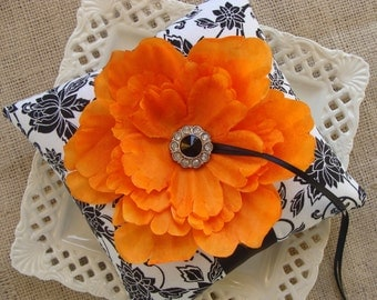 Wedding Ring Bearer Pillow - Orange Peony on Black & White