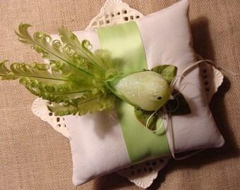 Wedding Ring Bearer Pillow - Love Bird on Ivory Tafetta & Lime