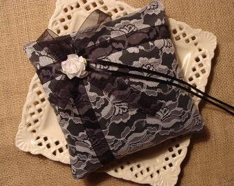 Wedding Ring Bearer Pillow - White Lace on Black Satin