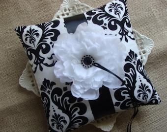 Wedding Ring Bearer Pillow - White Peony on Black & White Damask