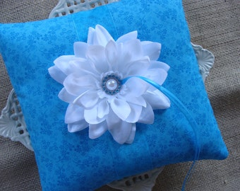 Wedding Ring Bearer Pillow - White Dahlia on Turquoise