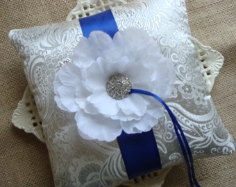 Wedding Ring Bearer Pillow - White Peony on White & Silver Satin Brocade