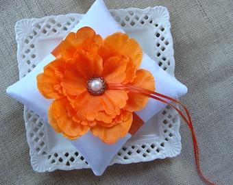 Wedding Ring Bearer Pillow - Orange Peony on White Tafetta