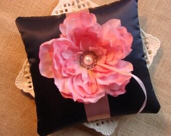 Wedding Ring Bearer Pillow - Multi Colored Rose Peony on Midnight Blue SatinTafetta
