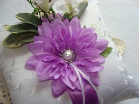 Wedding Ring Bearer Pillow - Lavender Dahlia on White Embroidered Satin