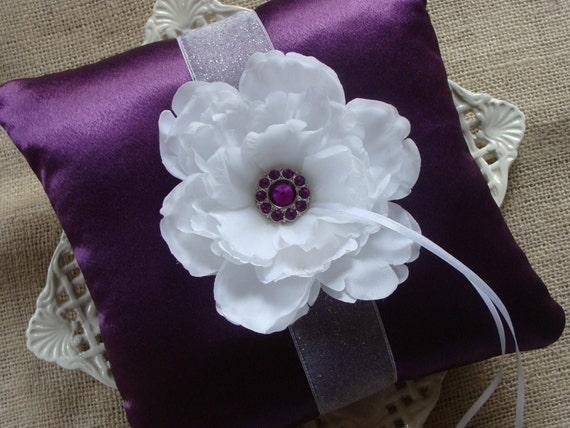 Wedding Ring Bearer Pillow - White Peony on Amethyst Satin