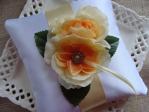 Wedding Ring Bearer Pillow - Yellow Roses on White Satin
