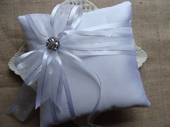 Wedding Ring Bearer Pillow -  White Organza Bow with Silver Stripe on White Tafetta