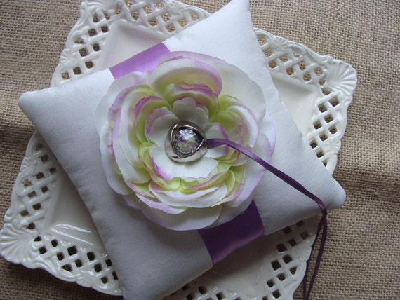 Wedding Ring Bearer Pillow - Multi Colored Ranunculous on IvoryTafetta and Lavender