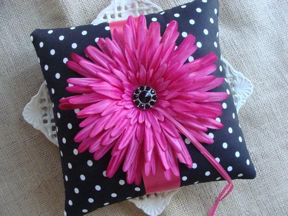 Wedding Ring Bearer Pillow - Fuscia Gerbera Daisy on Black & White Polka Dots