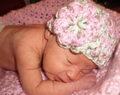 Pink n Green Spring Hat with flower -  Newborn -  Hand crafted