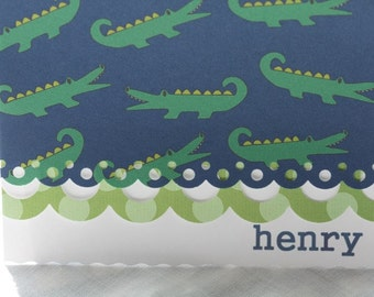 personalized preppy alligator note cards