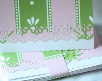 Pink and green handcrafted Note Cards - personalization may added off  Set of 10