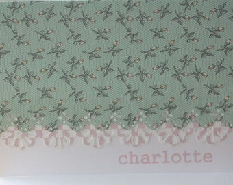 Sweet pale green and pink rosebud handcrafted Note Cards - personalization may be left off Set of 5