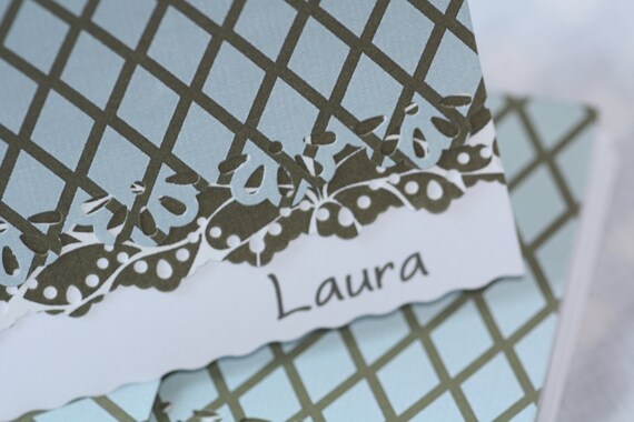 Personalized pale blue and brown handcrafted Note Cards - personalization may be left off  Set of 5