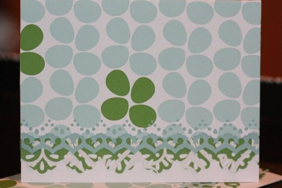 Handcrafted Aqua and Bright Green Retro Design Note Cards