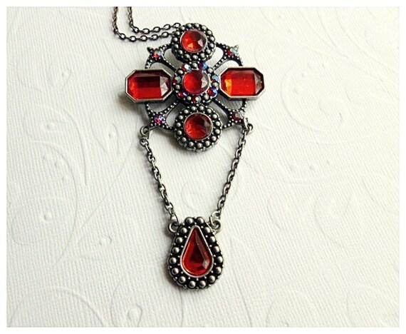 Red Rhinestone Necklace - Valentines Day Jewelry