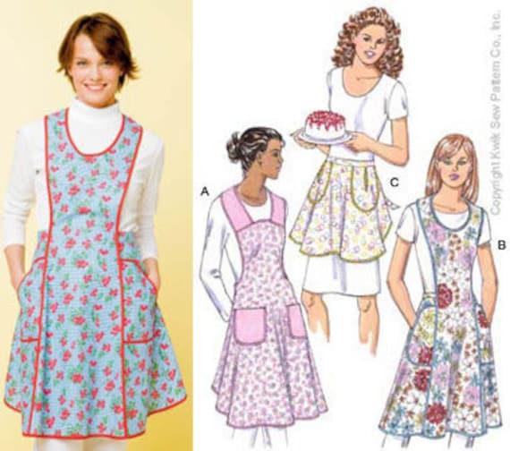 Kwik Sew Apron Pattern, 3396, Three Views, Full and Half, New