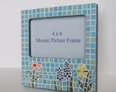 Blue Mosaic Frame: April Flowers, 4x6 picture frame