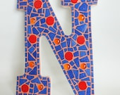 "Custom Letter V Mosaic Wall Decor: Blue & Orange 15"" for Chris"