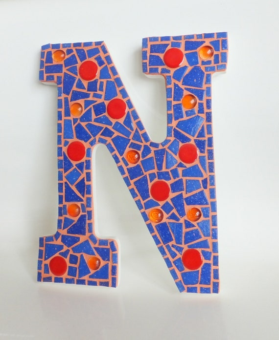 Letter n mosaic wall decor blue orange 9 for Letter n decorations