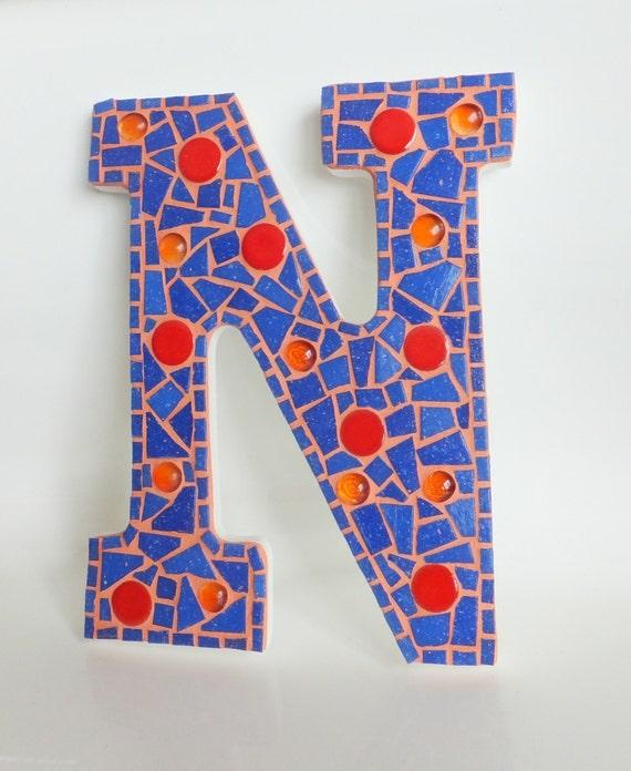 Letter n mosaic wall decor blue orange 9 for Decoration 9 letters