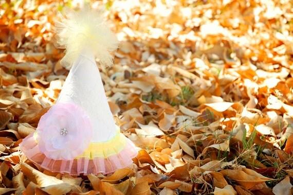 White Pintuck Fabric, Ribbon, and Silk Flower Birthday Hat