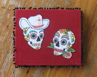 Day of the Dead Embroidered Sugar Skull Art Personalized Wedding Portrait Frame or Pillow