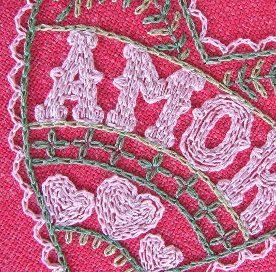 Mexican style Embroidered Amor Love Heart Pillow or Wall Art for Loved One