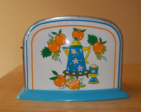 Vintage Blue with Oranges Decorative Collectible 50's Tin Kid's Toaster Toy
