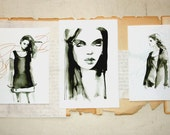 Sale pen and ink 3 prints of fashion illustrations, black and white art, ink illustrations,fashion prints collection