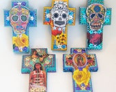 Frida Kahlo and butterfly on turquoise wooden cross