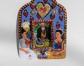 Frida Kahlo and heart Mexican tin nicho bright blue and red vibrant // Mexico Folk art // love hearts // sacred heart // dos fridas