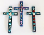 Mexican milagros on wooden cross // Charms Spring flowers // Red blue turquoise silver // Sacred heart // Unusual wall art home decor