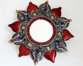 On hold for Sheila  Red Star Sun round tin metal mirror / Mexican folk art / hammered tin