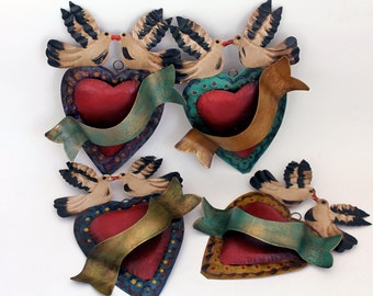 Mexican tin metal heart with banner - Red rust darl purple  // Mexico folk art // two doves birds kissing // wedding gift idea