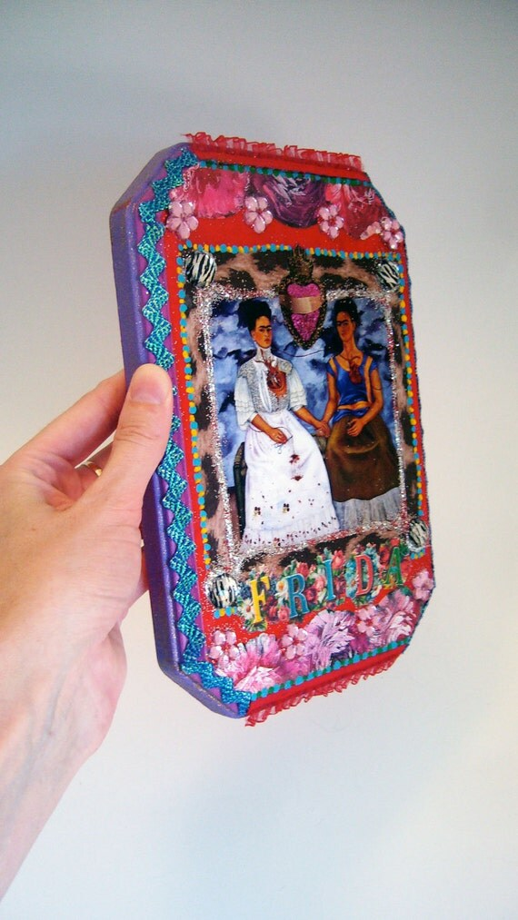 CLEARANCE / On Sale / Discounted / Frida Kahlo Original Collage on wooden plaque / Mexican folk art Pink and purple