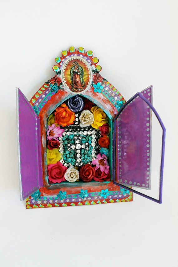 Large Mexican Tin Nicho Shadow Box With Double Doors Bright