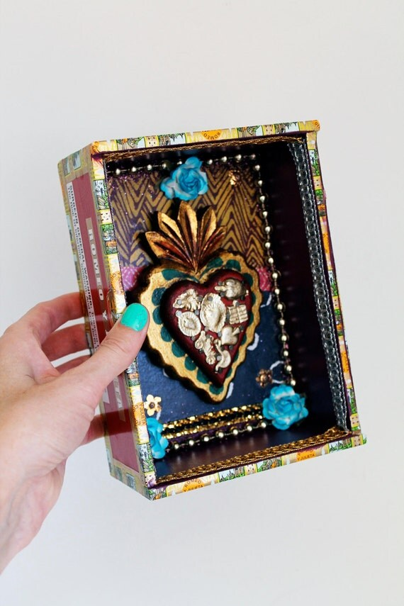 Mexican art shrine with wooden sacred heart shadow box // multicolor // Shrine diorama with wood heart with milagros  // Mexican folk art