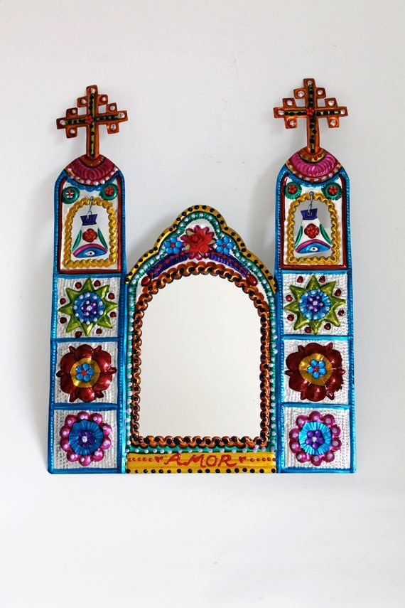 Mexico Church Tin Metal Mirror Mexican Folk Art Ethnic