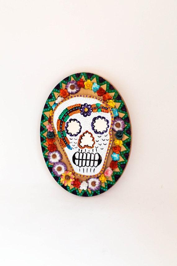 Day of the Dead Sugar skull tin mirror on wood plaque / Mexican folk art / Unusual home decor / original art piece