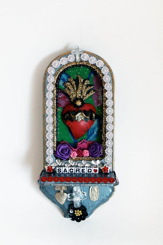 Mexican Sacred Heart Retablo Shrine Prayer Art Altar Shelf